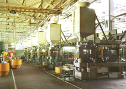 Rotary line for the production of hunting cartridges